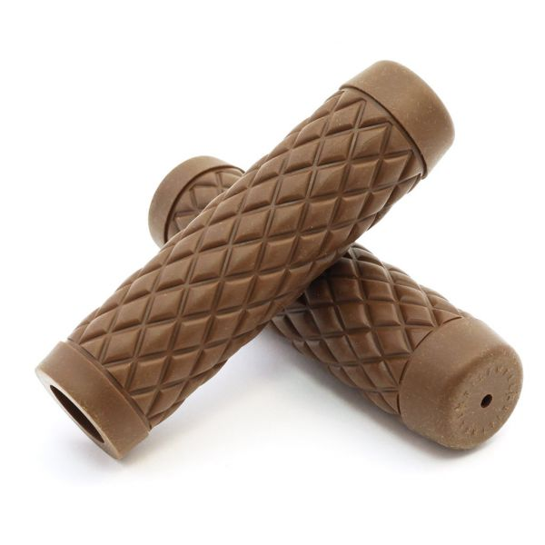 """Biltwell Motorcycle Handlebar TPV Rubber Grips 1/"""" Replacement Torker Chocolate"""